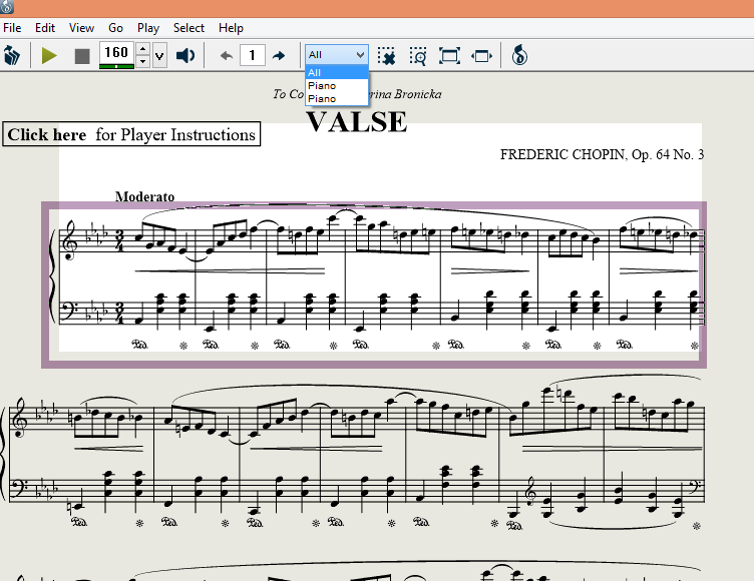 How do I select a passage of music in the Musicnotes Player
